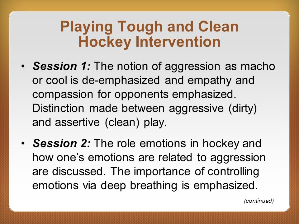 Playing Tough and Clean Hockey Intervention