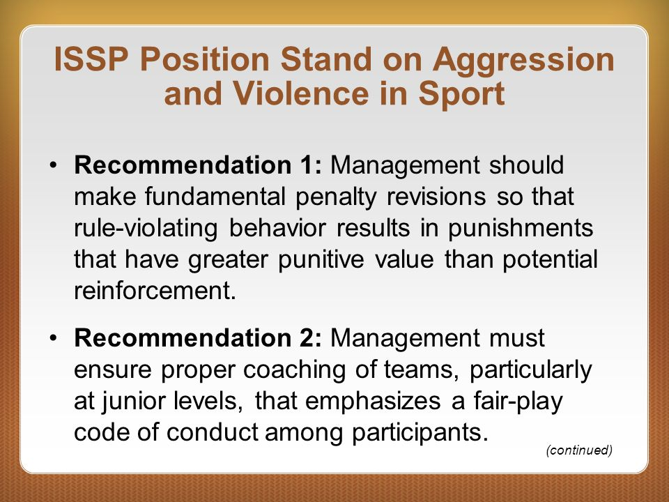 ISSP Position Stand on Aggression and Violence in Sport