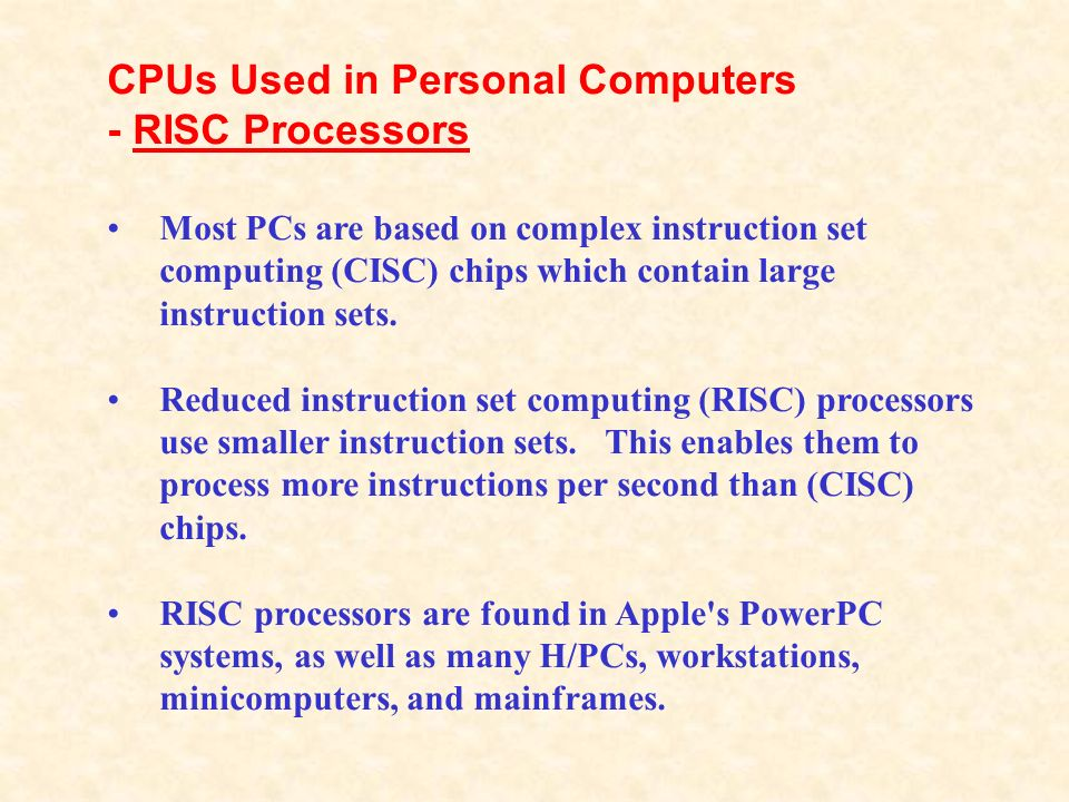 CPUs Used in Personal Computers - RISC Processors
