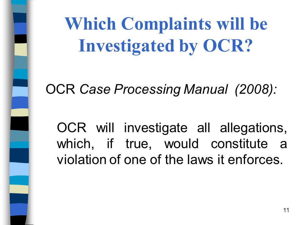 Which Complaints will be Investigated by OCR