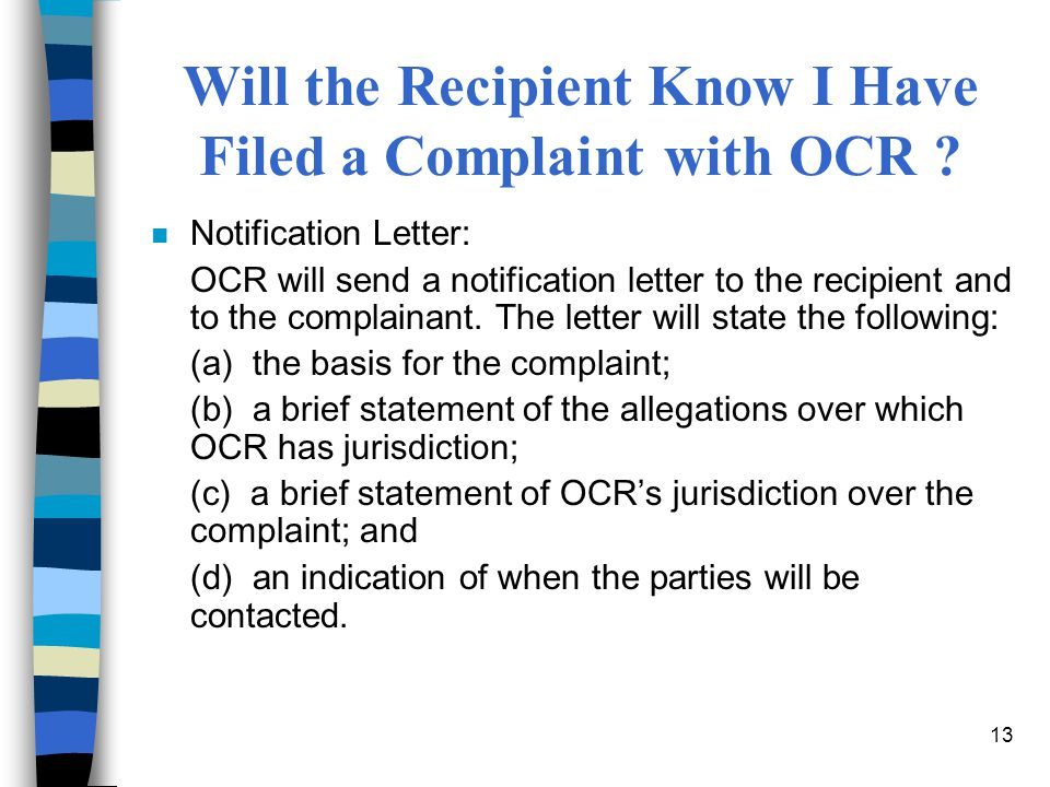 Will the Recipient Know I Have Filed a Complaint with OCR