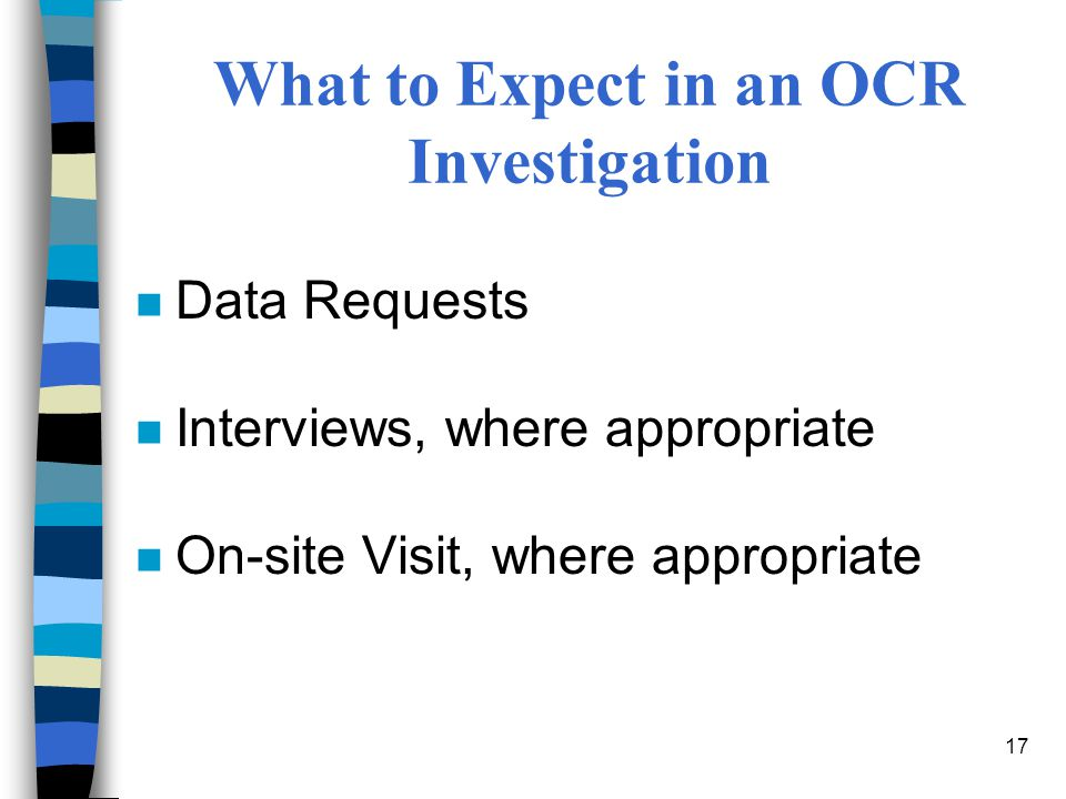 What to Expect in an OCR Investigation