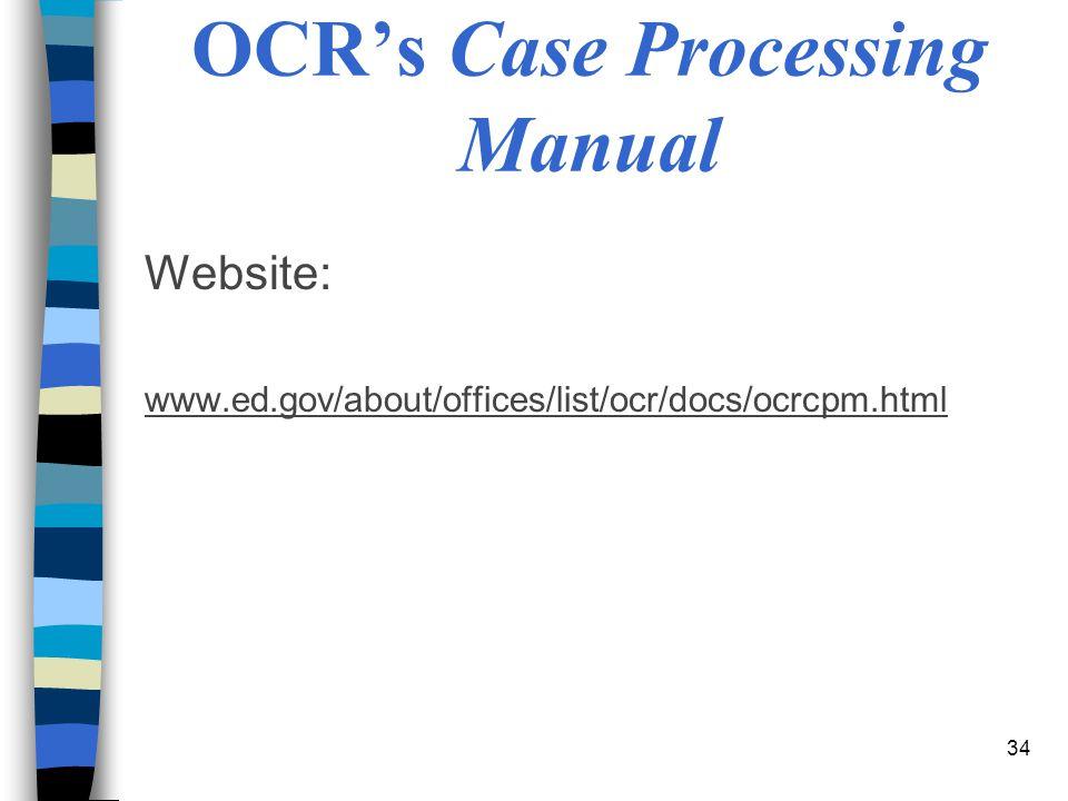 OCR's Case Processing Manual