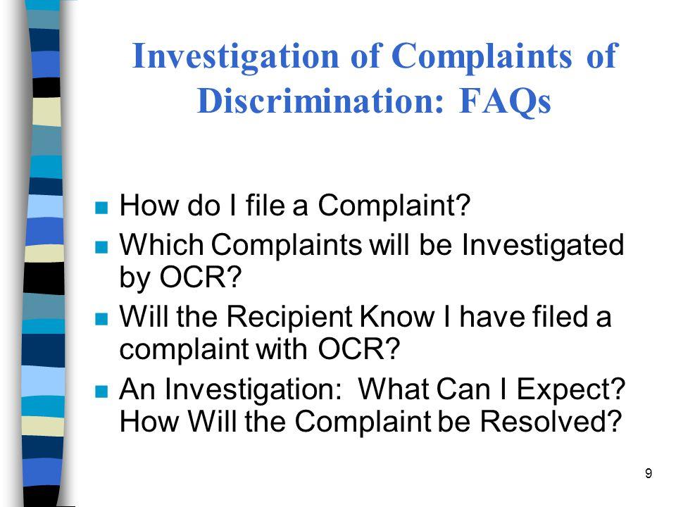 Investigation of Complaints of Discrimination: FAQs