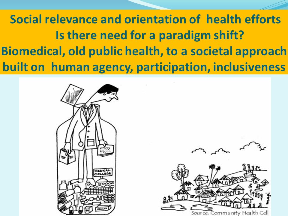 Social relevance and orientation of health efforts Is there need for a paradigm shift.