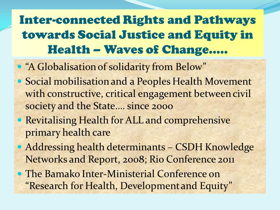 Inter-connected Rights and Pathways towards Social Justice and Equity in Health – Waves of Change…..
