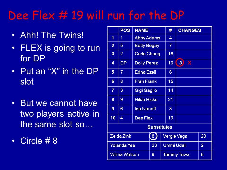 Dee Flex # 19 will run for the DP