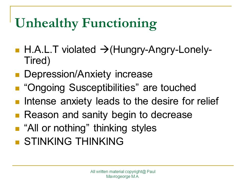 Unhealthy Functioning