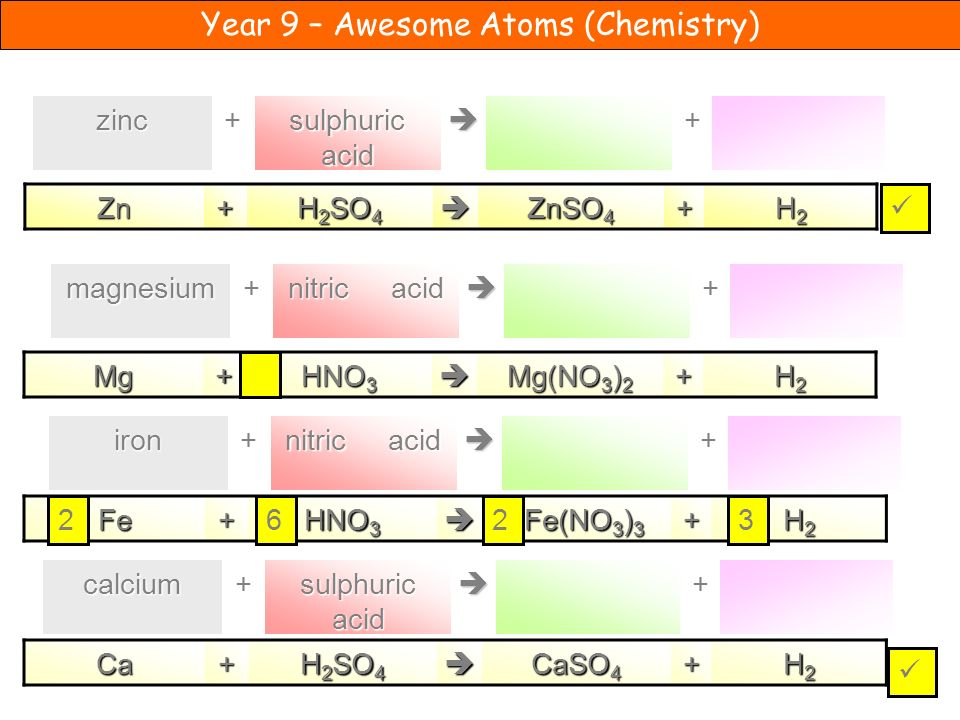  sulphuric acid. + zinc. + Zn. + H2SO4.  ZnSO4. H2.   nitric acid. + magnesium.