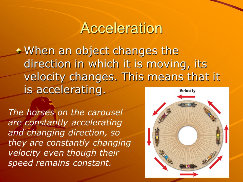 Acceleration When an object changes the direction in which it is moving, its velocity changes. This means that it is accelerating.