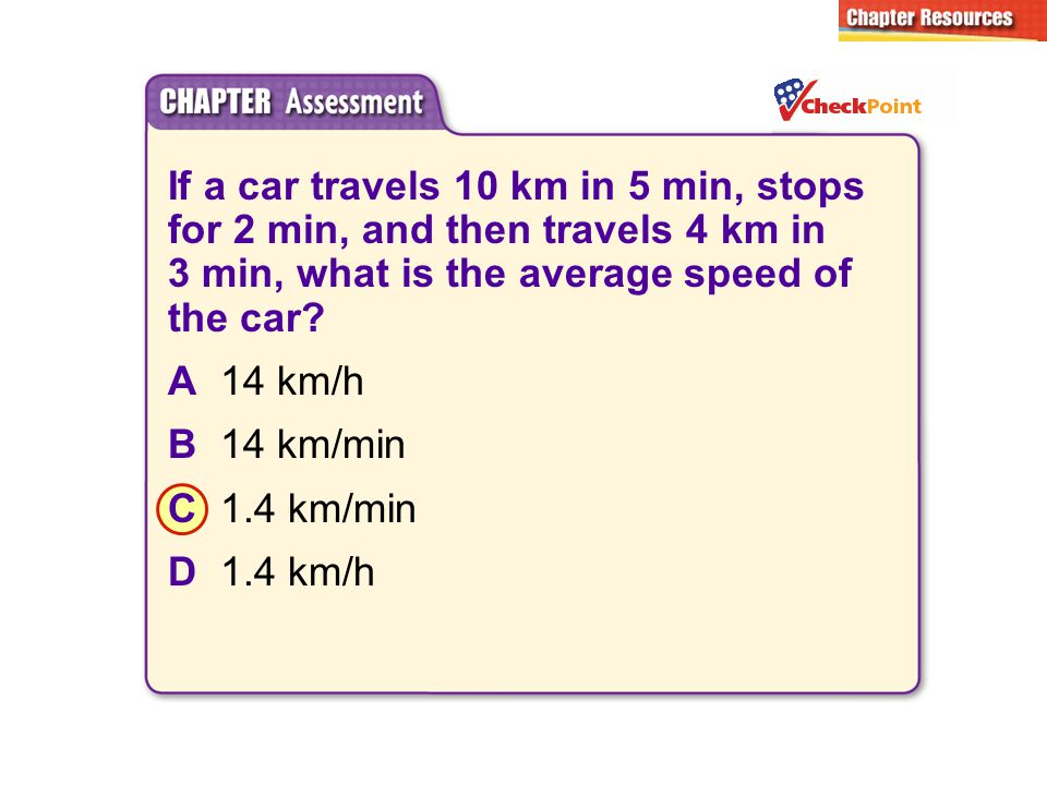 If a car travels 10 km in 5 min, stops for 2 min, and then travels 4 km in 3 min, what is the average speed of the car