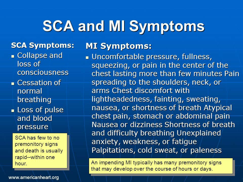 SCA and MI Symptoms MI Symptoms: SCA Symptoms: