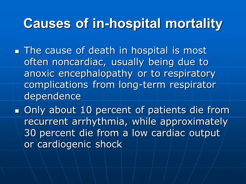 Causes of in-hospital mortality