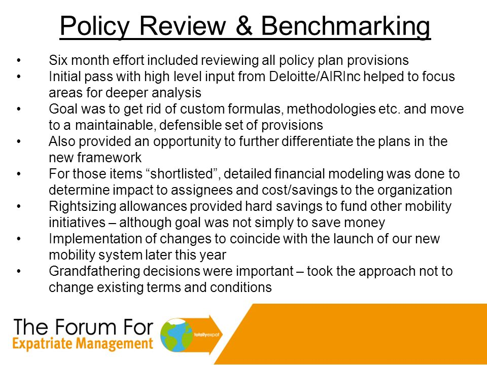 Policy Review & Benchmarking