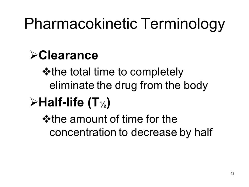 Pharmacokinetic Terminology
