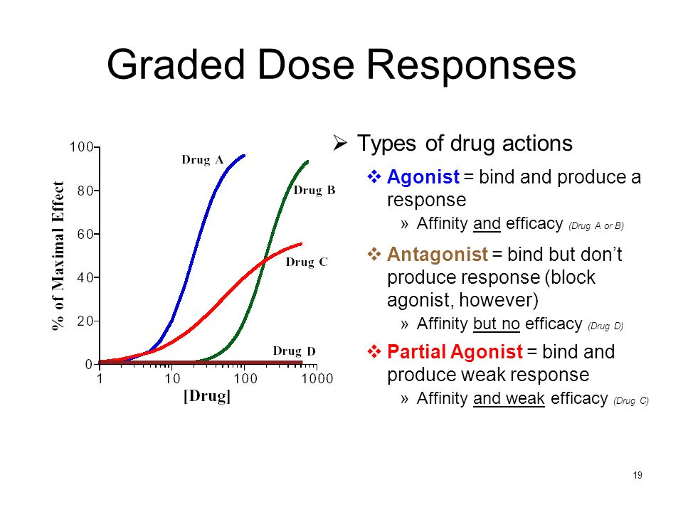 Graded Dose Responses Types of drug actions