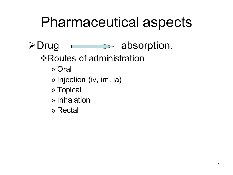 Pharmaceutical aspects