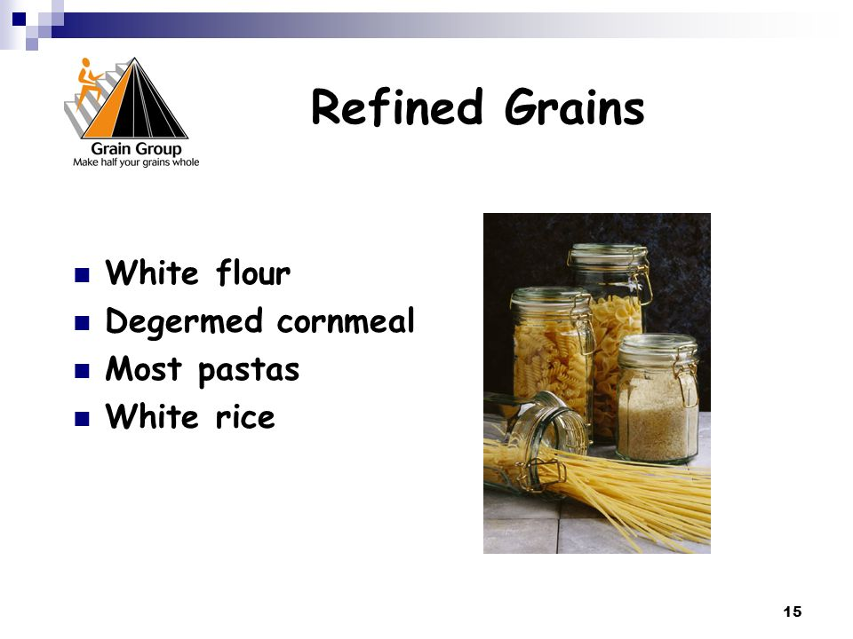 Refined Grains White flour Degermed cornmeal Most pastas White rice