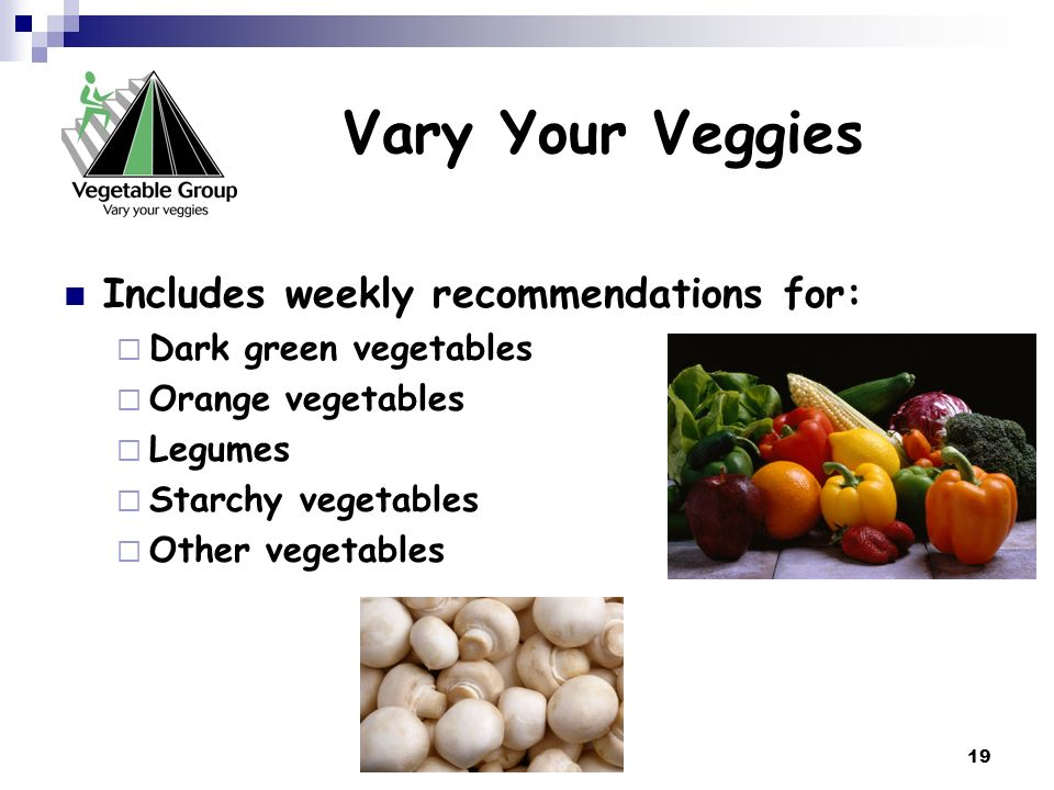 Vary Your Veggies Includes weekly recommendations for: