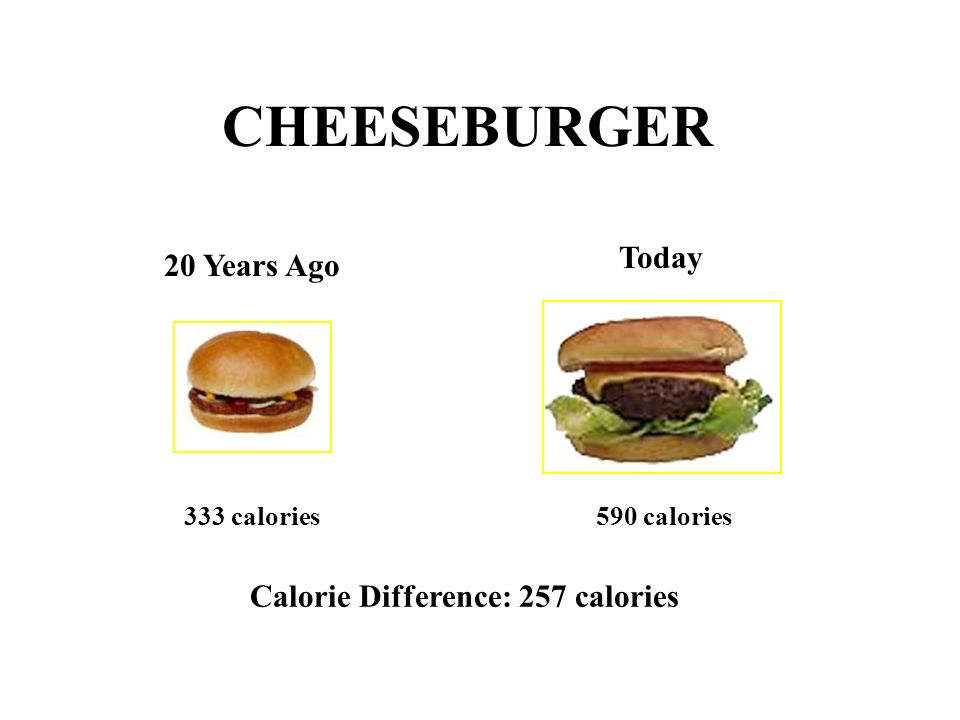 CHEESEBURGER Today 20 Years Ago Calorie Difference: 257 calories