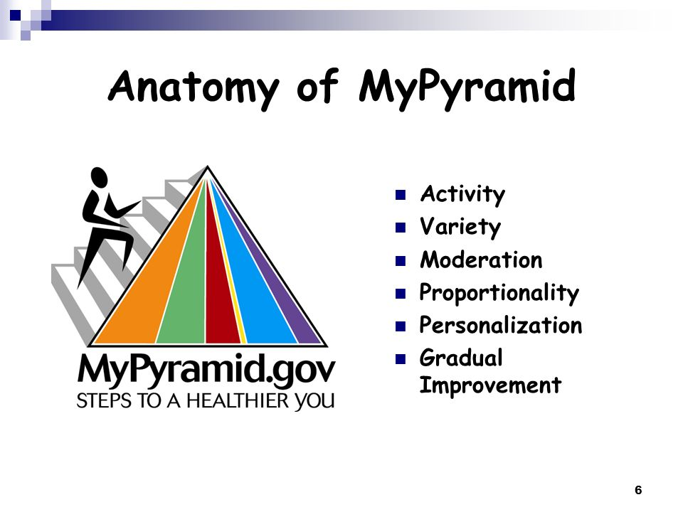 Anatomy of MyPyramid Activity Variety Moderation Proportionality