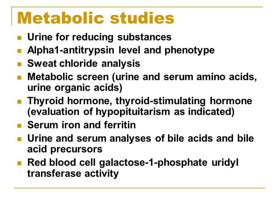 Metabolic studies Urine for reducing substances
