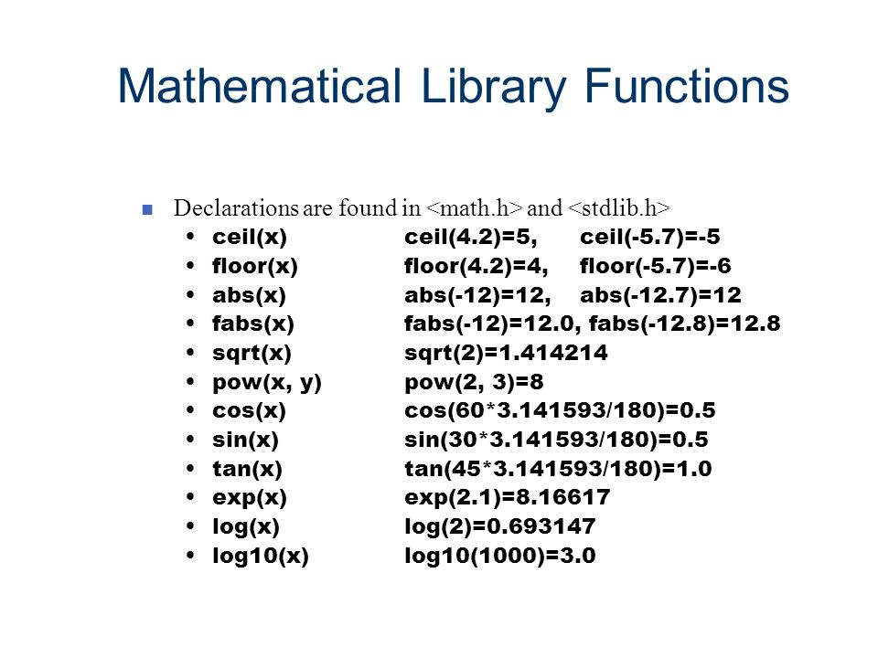 Mathematical Library Functions