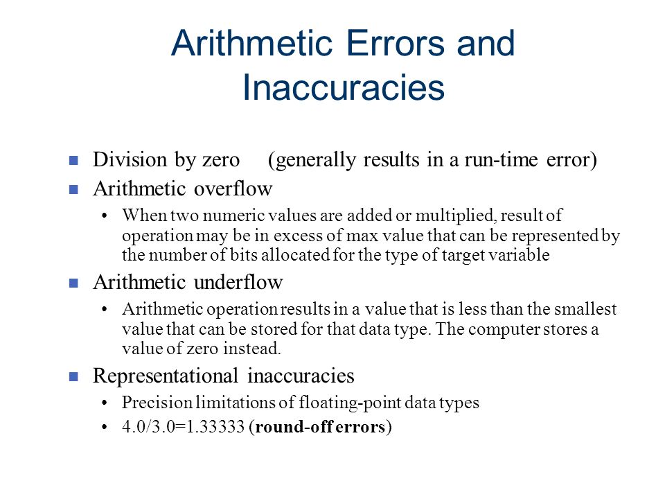 Arithmetic Errors and Inaccuracies