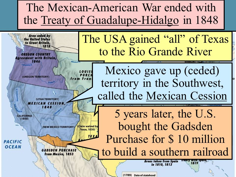 The USA gained all of Texas to the Rio Grande River