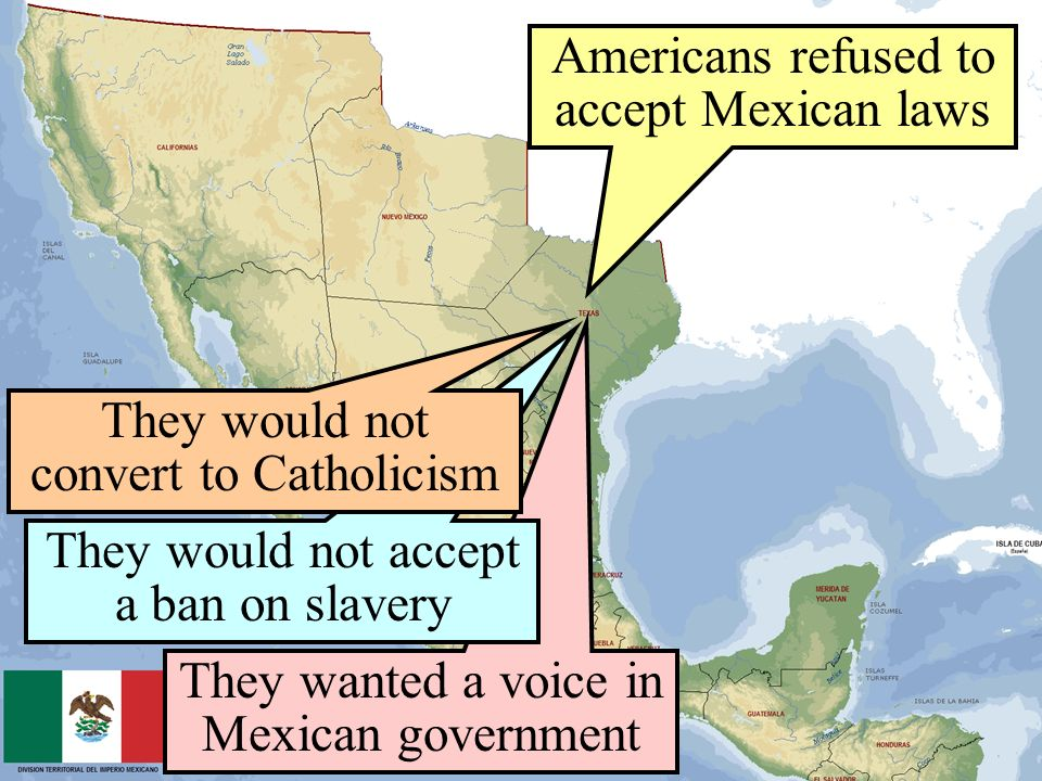 Americans refused to accept Mexican laws