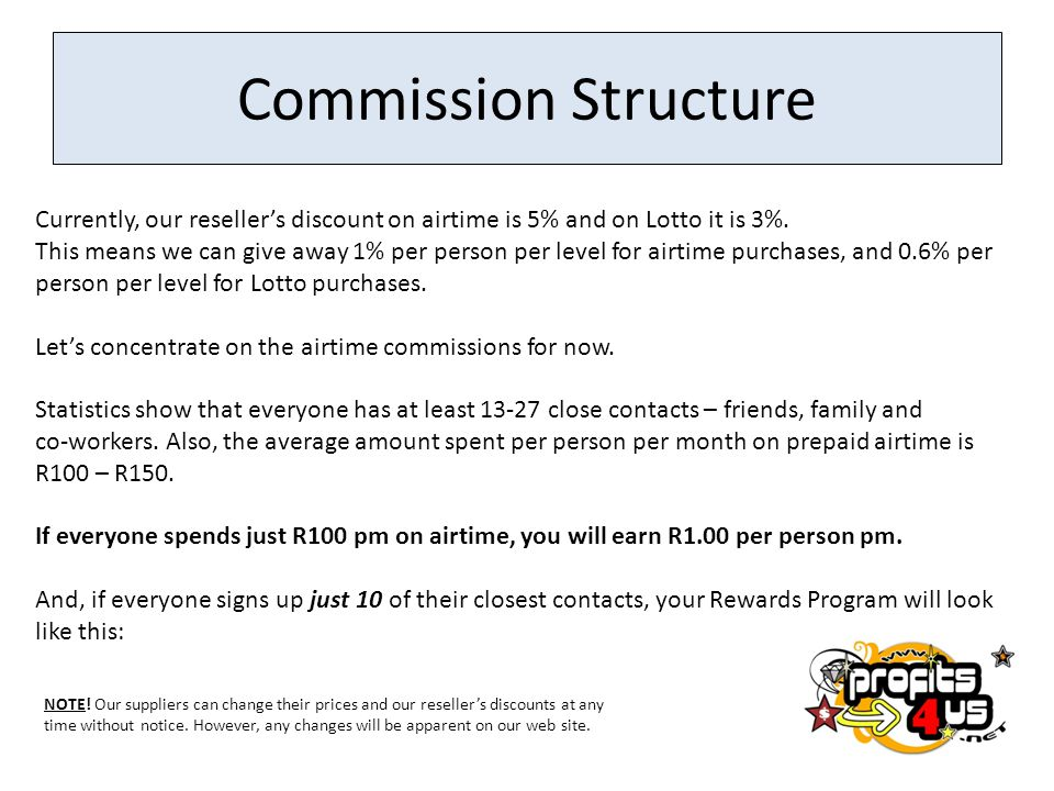 Commission Structure Currently, our reseller's discount on airtime is 5% and on Lotto it is 3%.