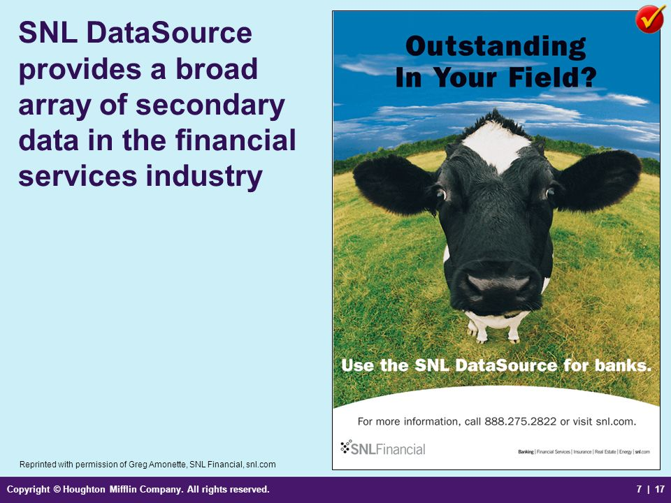 SNL DataSource provides a broad array of secondary data in the financial services industry