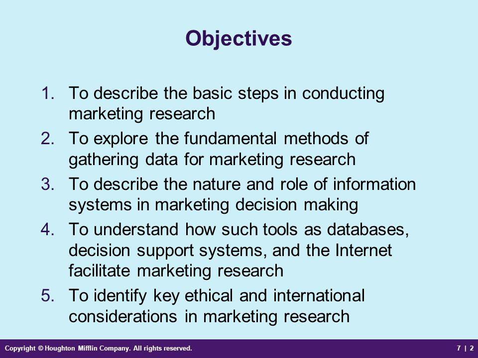 ObjectivesTo describe the basic steps in conducting marketing research. To explore the fundamental methods of gathering data for marketing research.