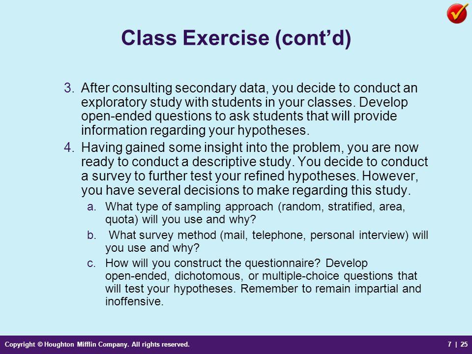 Class Exercise (cont'd)
