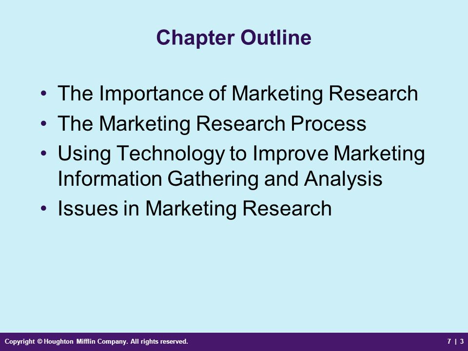 The Importance of Marketing Research The Marketing Research Process