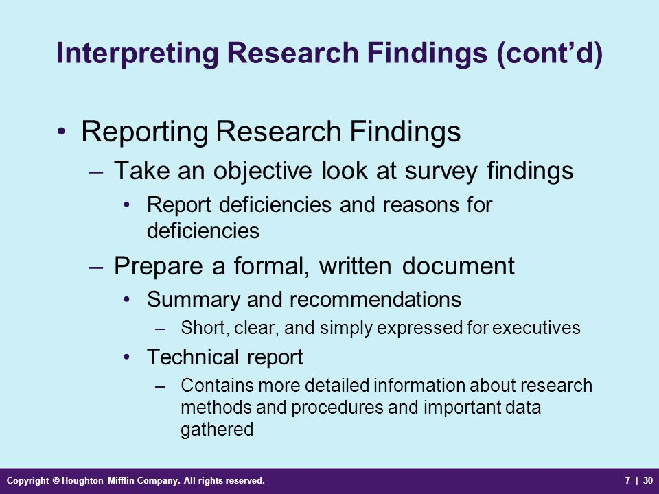 Interpreting Research Findings (cont'd)