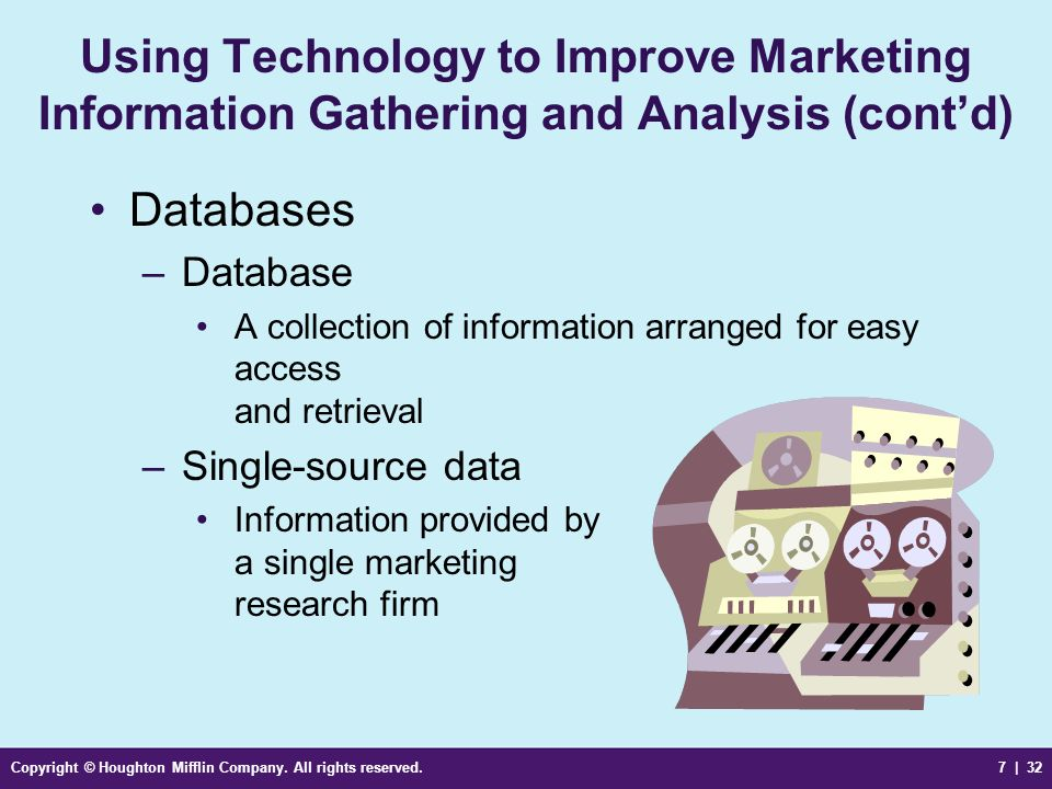 Using Technology to Improve Marketing Information Gathering and Analysis (cont'd)