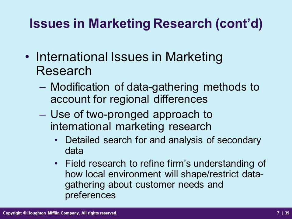Issues in Marketing Research (cont'd)