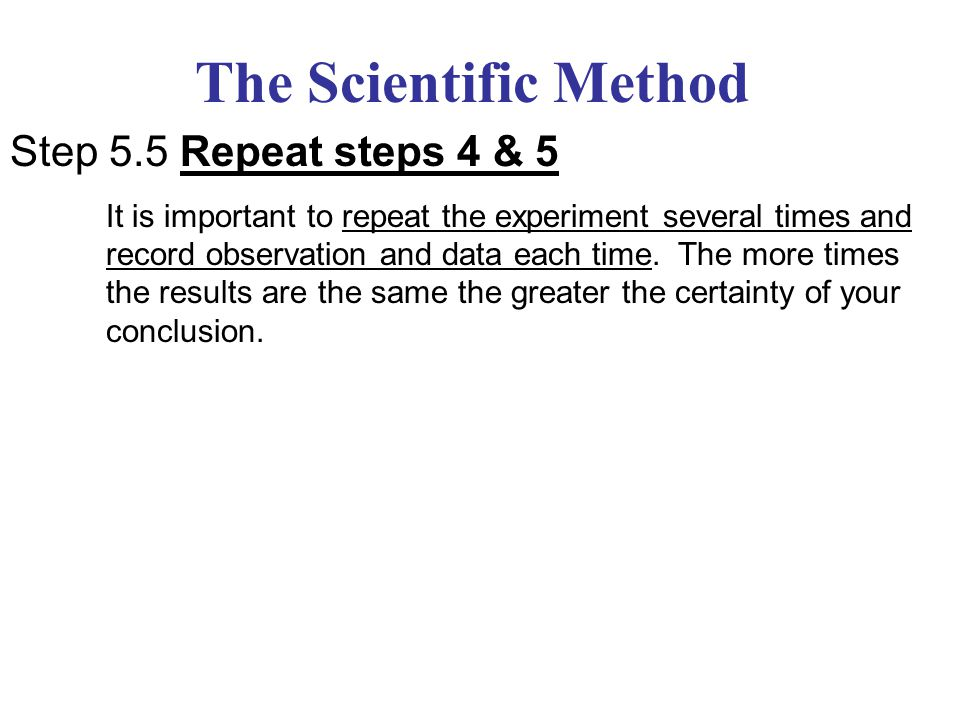 The Scientific Method Step 5.5 Repeat steps 4 & 5