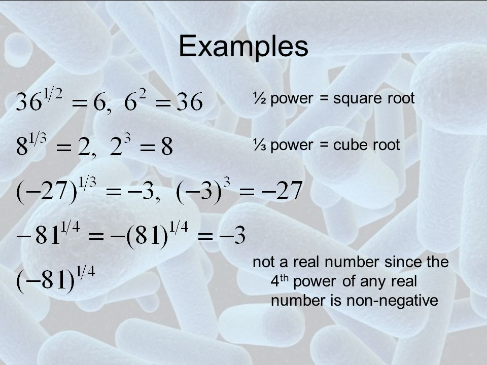 Examples ½ power = square root ⅓ power = cube root