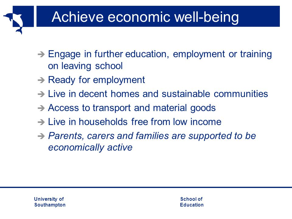 Achieve economic well-being
