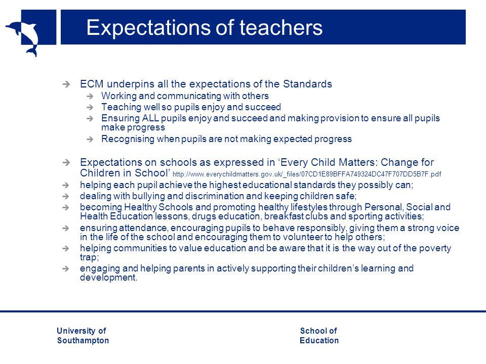 Expectations of teachers