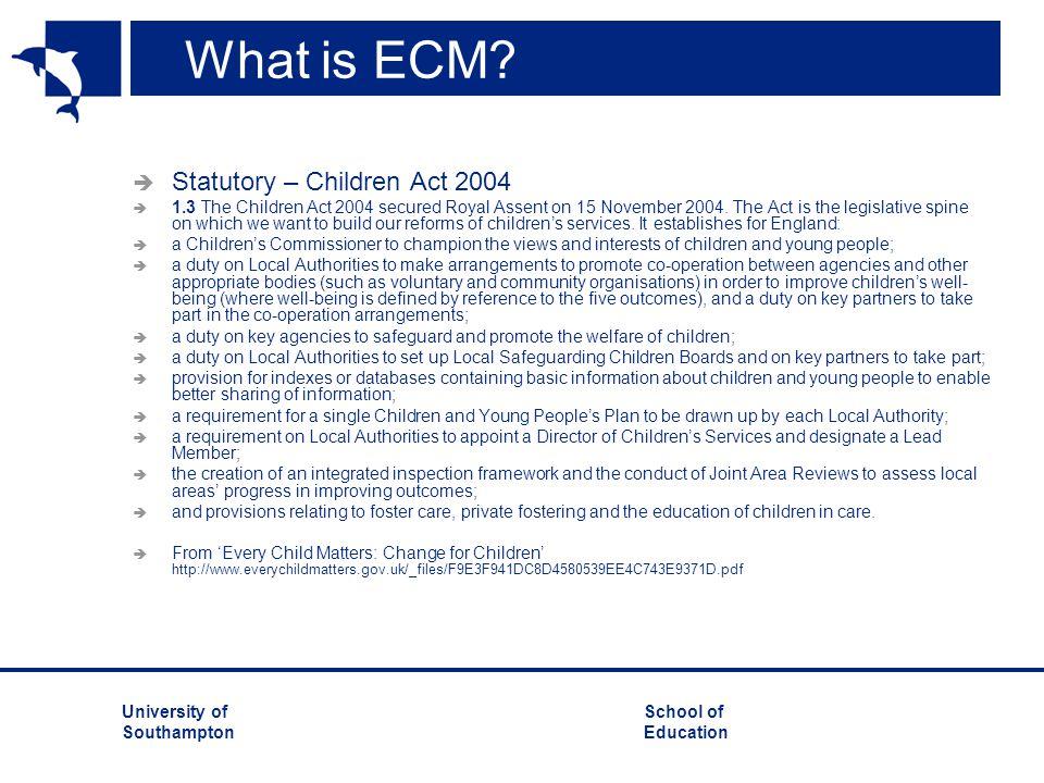 What is ECM Statutory – Children Act 2004