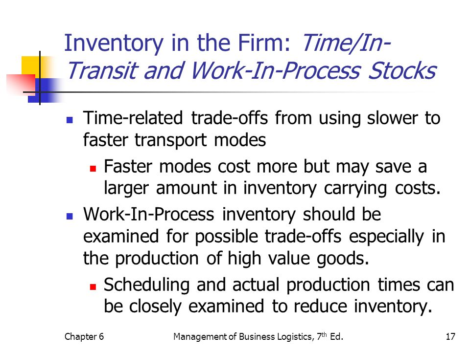 Inventory in the Firm: Time/In-Transit and Work-In-Process Stocks