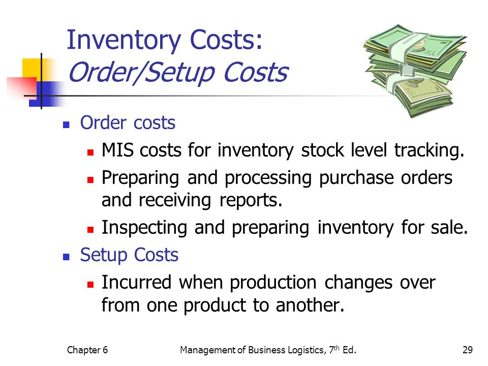 Inventory Costs: Order/Setup Costs