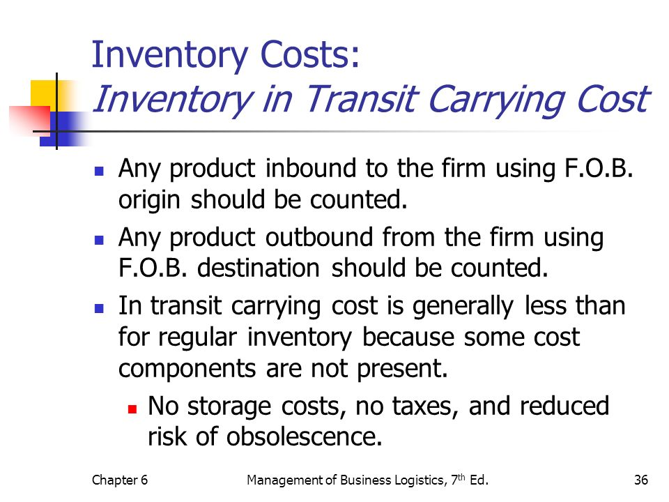 Inventory Costs: Inventory in Transit Carrying Cost