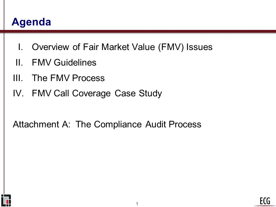 Agenda I. Overview of Fair Market Value (FMV) Issues