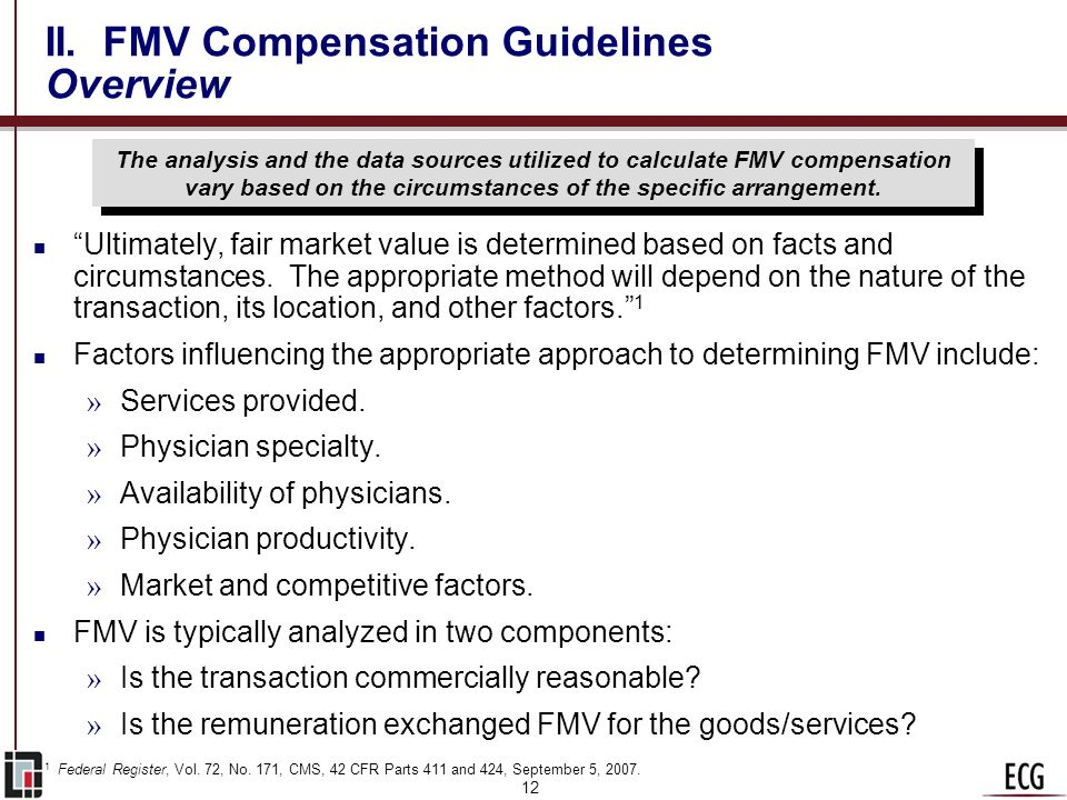 II. FMV Compensation Guidelines Overview