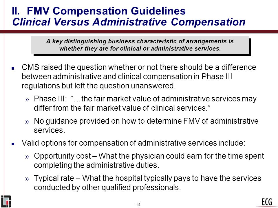 II. FMV Compensation Guidelines Clinical Versus Administrative Compensation