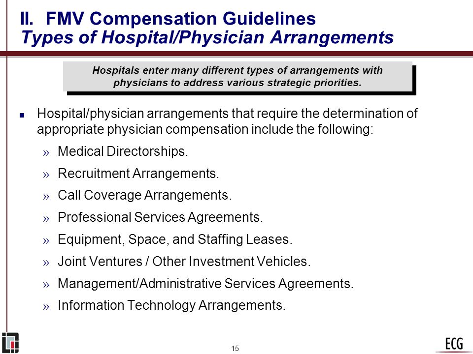 II. FMV Compensation Guidelines Types of Hospital/Physician Arrangements
